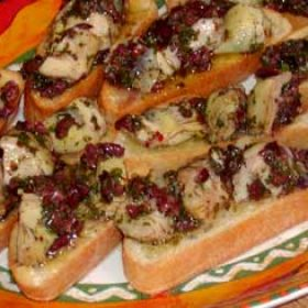 Bruschetta with Artichokes and Olives (barbecue version)