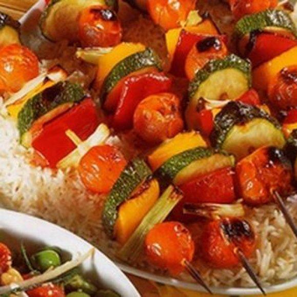 Oriental Vegetable Kebabs with Peanut Dressing