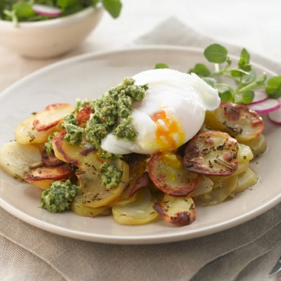 Pommes Anna with Eggs and Rocket and Walnut Pesto