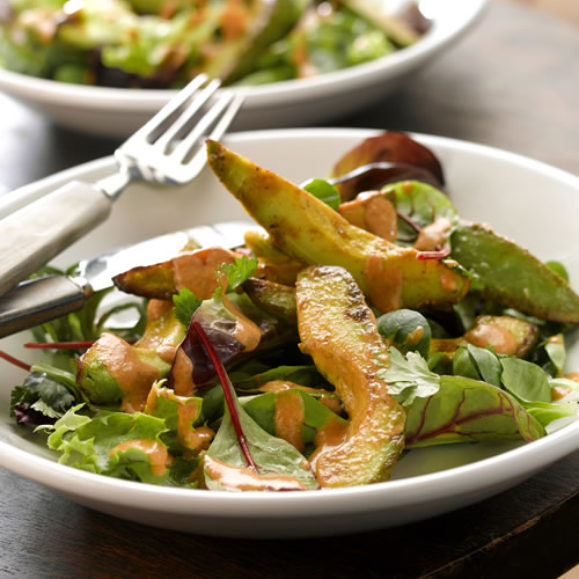 Warm Avocado Salad with Roasted Red Pepper Dressing