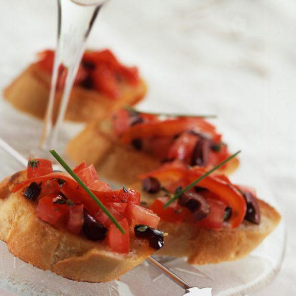 Tomato, Pepper and Olive Crostini