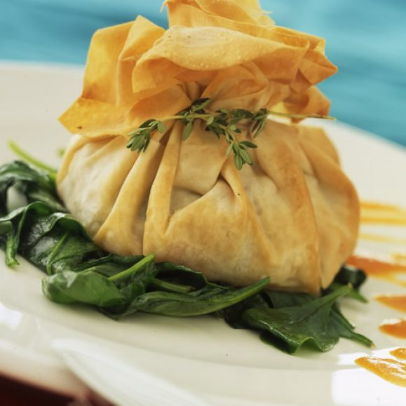Sweet Potato Filo Parcels with Papaya Sauce