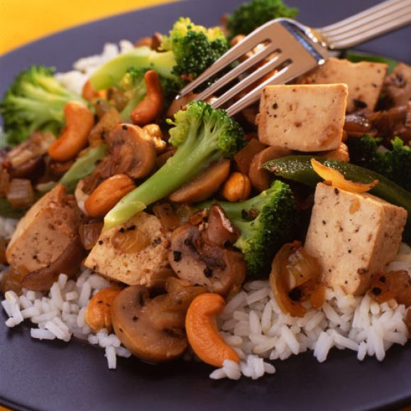 Tofu and Broccoli Stir Fry in Black Bean Sauce