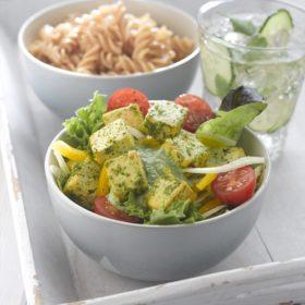 Zest Pesto Tofu with Mediterranean Salad
