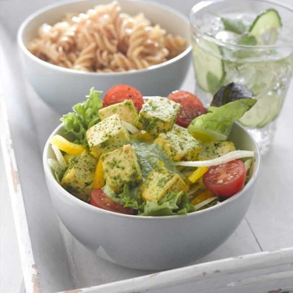 Zesty Pesto Tofu with Mediterranean Salad
