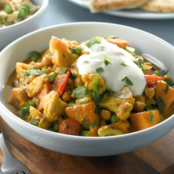 Vegetable & Chickpea Korma with Spicy Rice