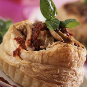 Oyster Mushroom & Shallot Tart with Sunblush Tomato Puree