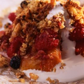 Apple, Orange and Raspberry Nutty Crumble