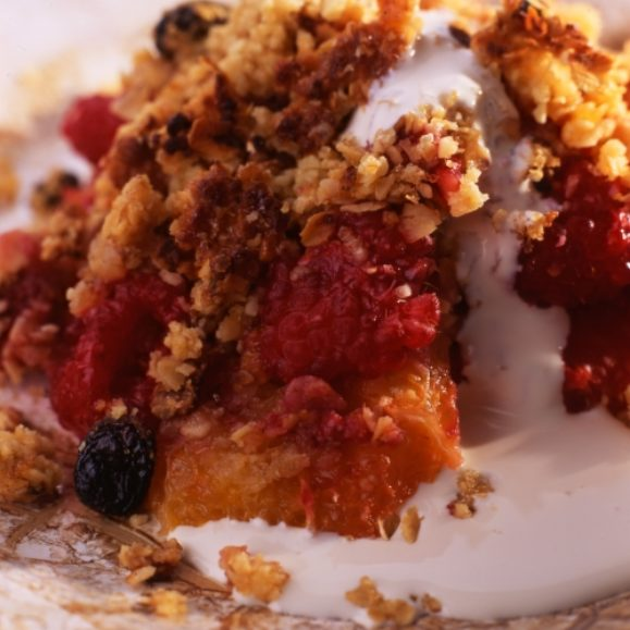 Apple, Orange & Raspberry Nutty Crumble