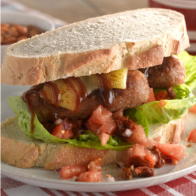 Triple BLT (Baked Bean Banger, Lettuce and Tomato)