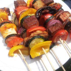 Vegetable Kebabs with Halloumi or Tofu