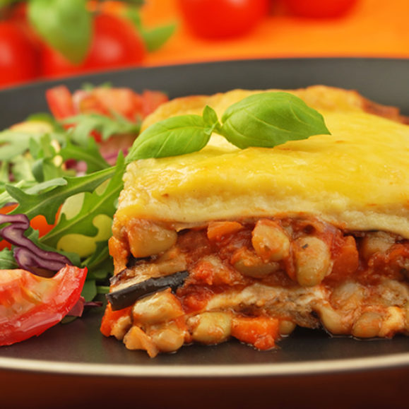 Aubergine and Flageolet Bean Lasagne