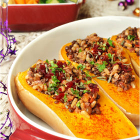 Butternut Bells – Squash Stuffed with Lentil, Nuts and Apricots