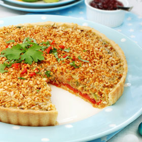Smoky Leek and Hazelnut Tart
