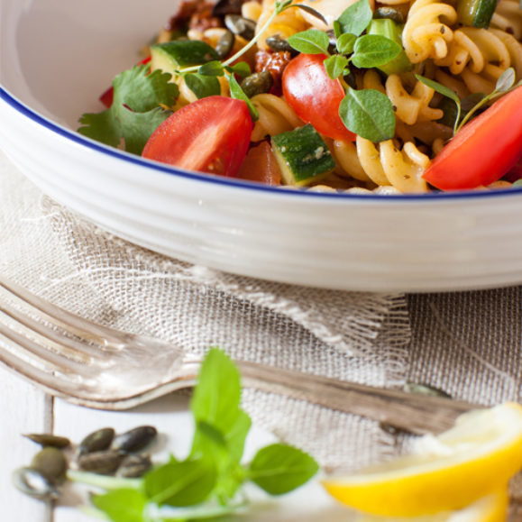 Pasta salad with a garlic and mustard dressing