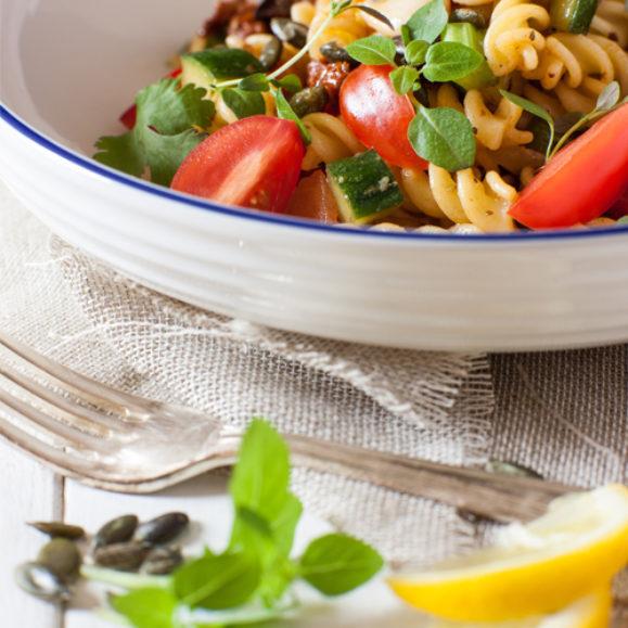 Pasta salad with a garlic and mustard dressing