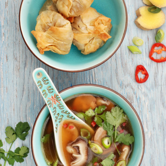 Thai Mushroom Soup with Crispy Wontons