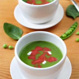 Pea and Spinach Soup with Beetroot Swirl