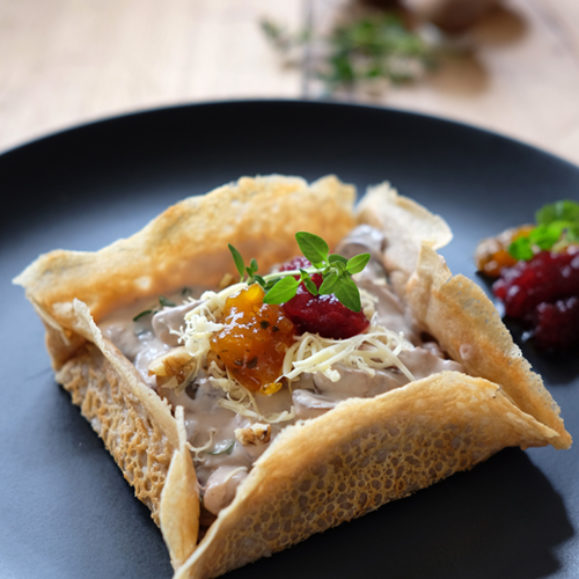 Buckwheat Galette with a Creamy Mushroom and Nut Filling