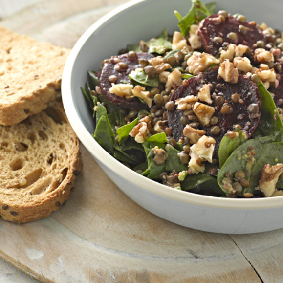 Beetroot, Puy Lentils and Spinach Salad