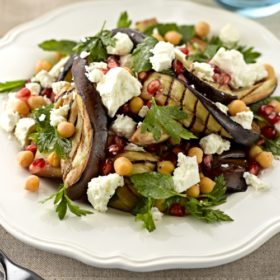 Aubergine, Chickpea, Pomegranate and Feta Cheese Salad
