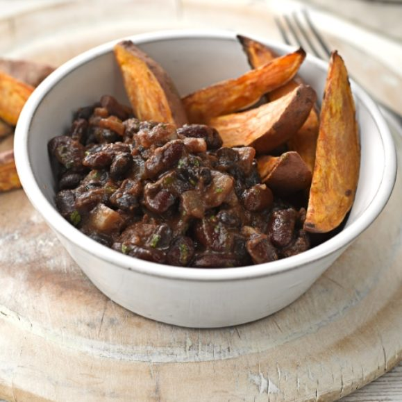 Baked Black Beans and Kidney Beans with Sweet Potato Wedges