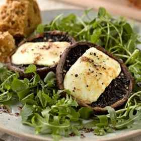 Portobello Mushrooms with Halloumi