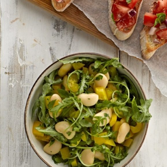 Tomato Bruschetta with Rocket and Butter Bean Salad