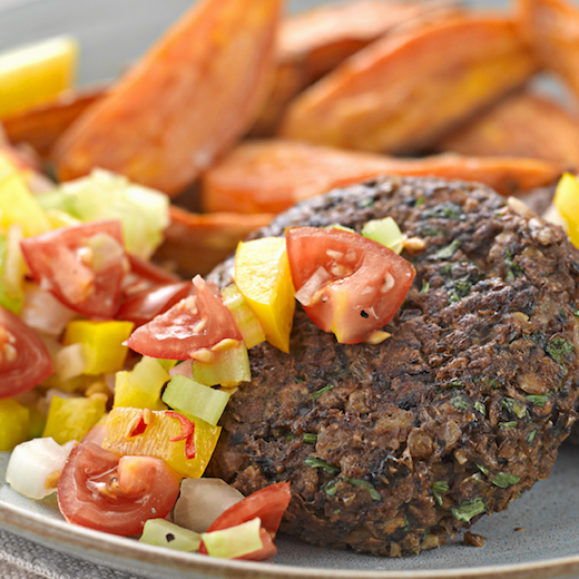 Mushroom, Walnut and Lentil Burgers with Sweet Potato Wedges