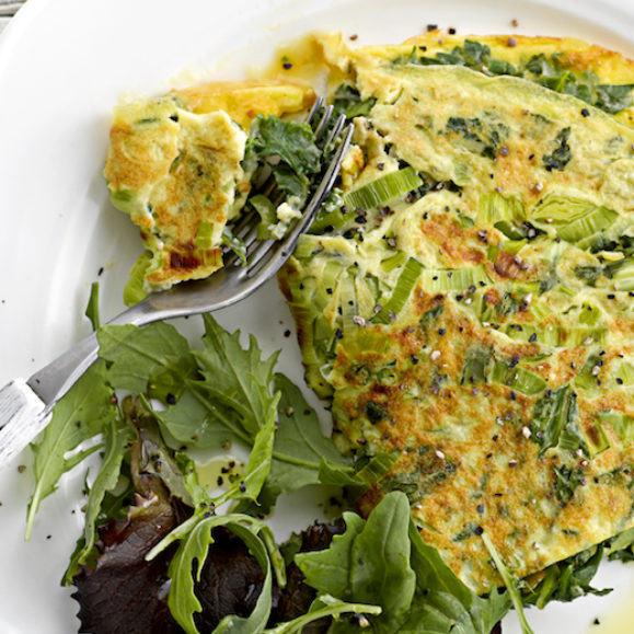 Leek, Kale and Herb Omelette with Green Salad
