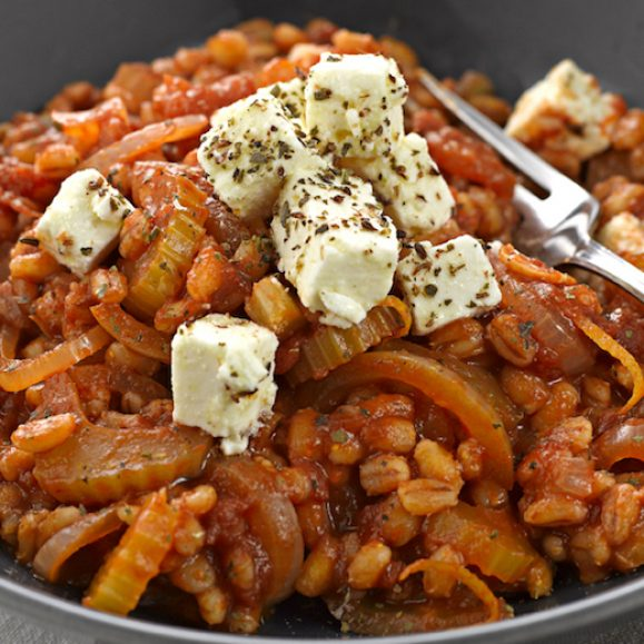 Pearl Barley Risotto with Feta Cheese