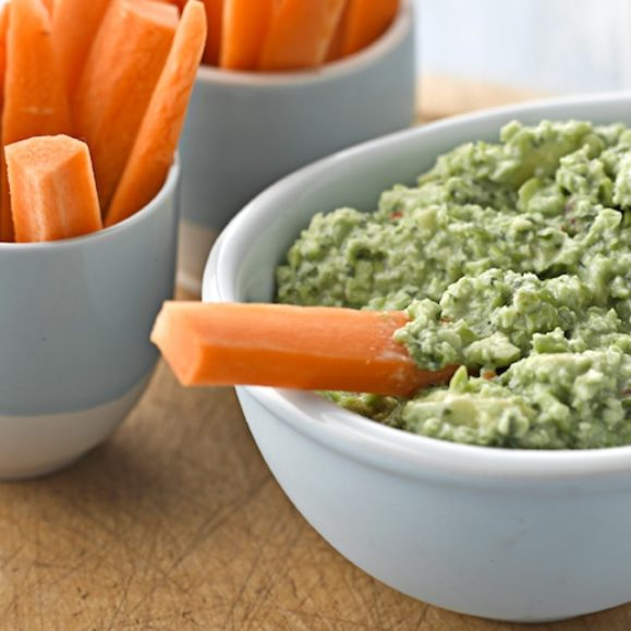 Edamame Dip with Carrot Sticks