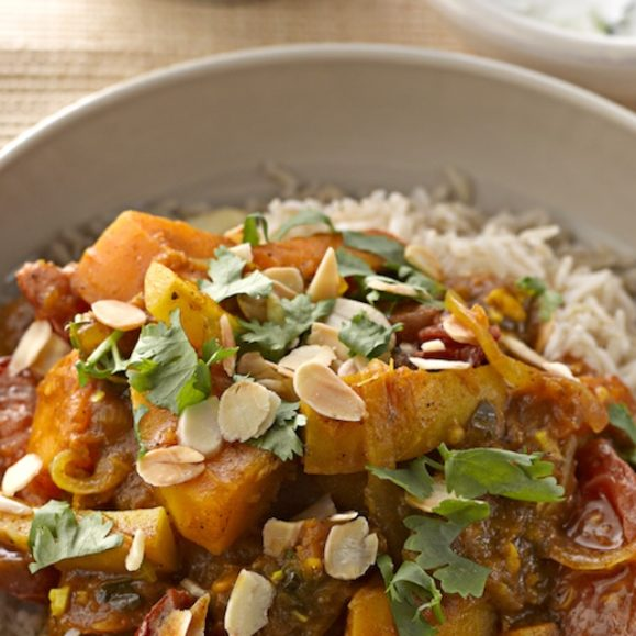Hearty Vegetable Curry with Raita and Brown Rice