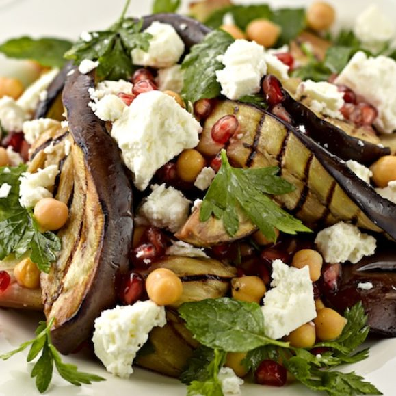 Aubergine, Chickpea, Pomegranate and Feta Salad