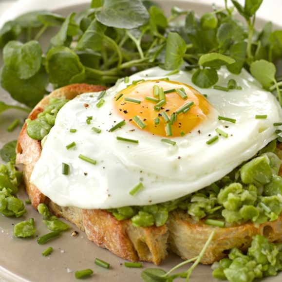 Broad Beans on Toast with Egg and Watercress