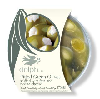 Pitted green olives stuffed with feta and ricotta