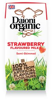 Strawberry flavoured Daioni organic milk 200ml