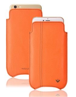 NUEVUE iPhone 6, 6s Case Flame Orange with Green Antimicrobial Interior & Café Noir Stitching