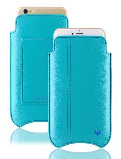 NUEVUE iPhone 6, 6s Plus Case Teal Blue & Tan Antimicrobial Interior & Blue Stitching