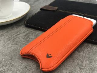 "NUEVUE – Faux Leather Flame Orange ""Screen Cleaning"" 8/7 iPhone case, Green Antimicrobial Interior"