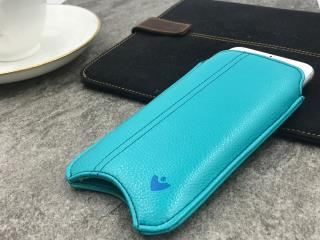 "NUEVUE – Faux Leather Teal Blue ""Screen Cleaning"" iPhone 8/7 Case, Tan Antimicrobial Interior"