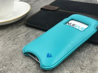 "NUEVUE – Faux Leather Blue ""Screen Cleaning"" iPhone 8/7 Case, Tan Antimicrobial Int. Electric Blue Stitching"