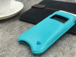 """NUEVUE – Faux Leather Blue """"Screen Cleaning"""" iPhone 8/7 Wallet Case, Window, Tan Antimicrobial Interior, Electric Blue Stitching"""