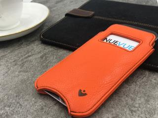 NUEVUE – Faux Leather Flame Orange Case with Green Interior for iPhone 8/7 & with Window & contrast Café Noir stitching – Flame Orange