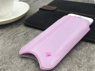 """NUEVUE – Faux Leather Purple """"Screen Cleaning"""" iPhone 8/7 Plus Case, Tan Antimicrobial Int, Purple Pout Stitching"""