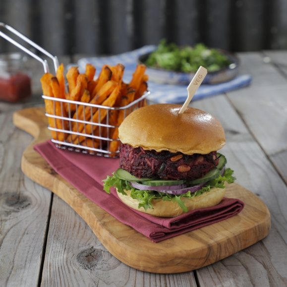 Rainbow Burger with Sweet Potato Fries