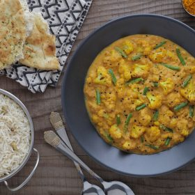 South Indian Sambar Curry with Green Beans and Roast Cauliflower