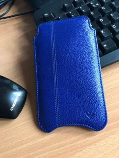 NueVue iPhone X Case French Blue Faux Leather Sanitizing Sleeve