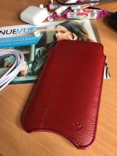 NueVue iPhone X Case Rose Red Faux Leather Sanitizing Sleeve