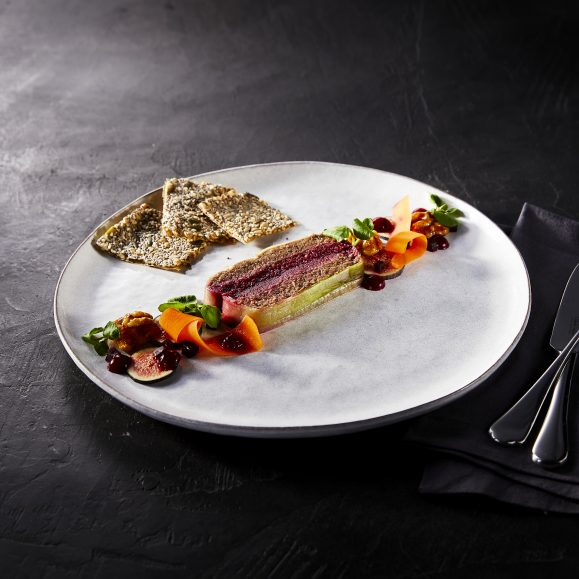 Terrine of Chestnut and Fig Paté with Beetroot Layer, and Seed Crackers
